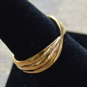 J CREW Gold Vermeil Twisted Band Ring, Size 8